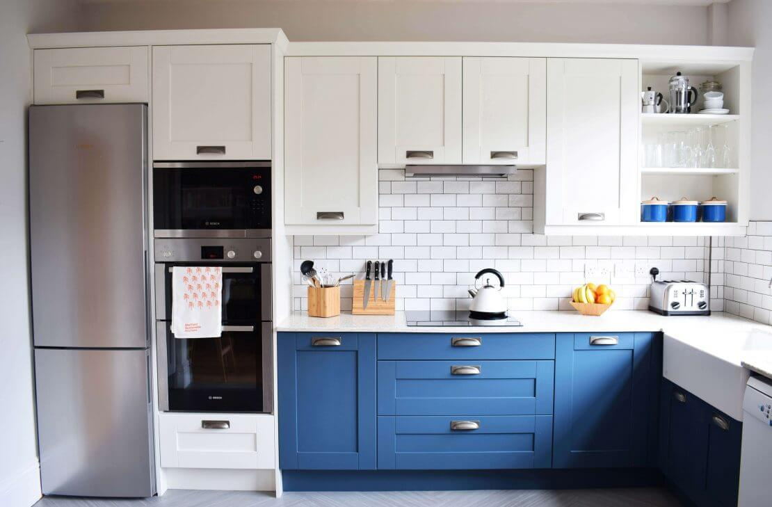 new kitchen with blue shaker doors