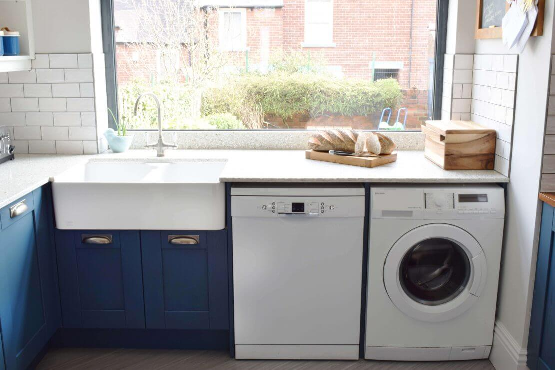 new kitchen with recycled glass worktop