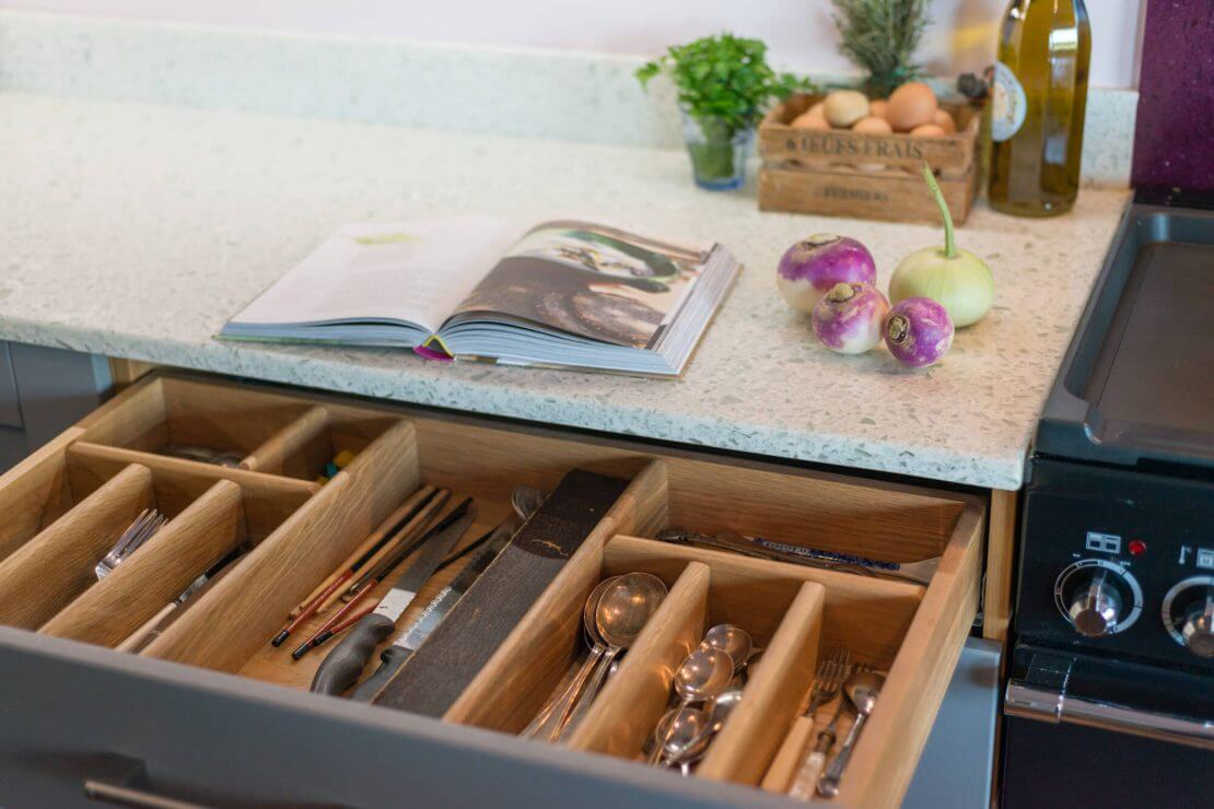 open kitchen cutler drawer with timber tray