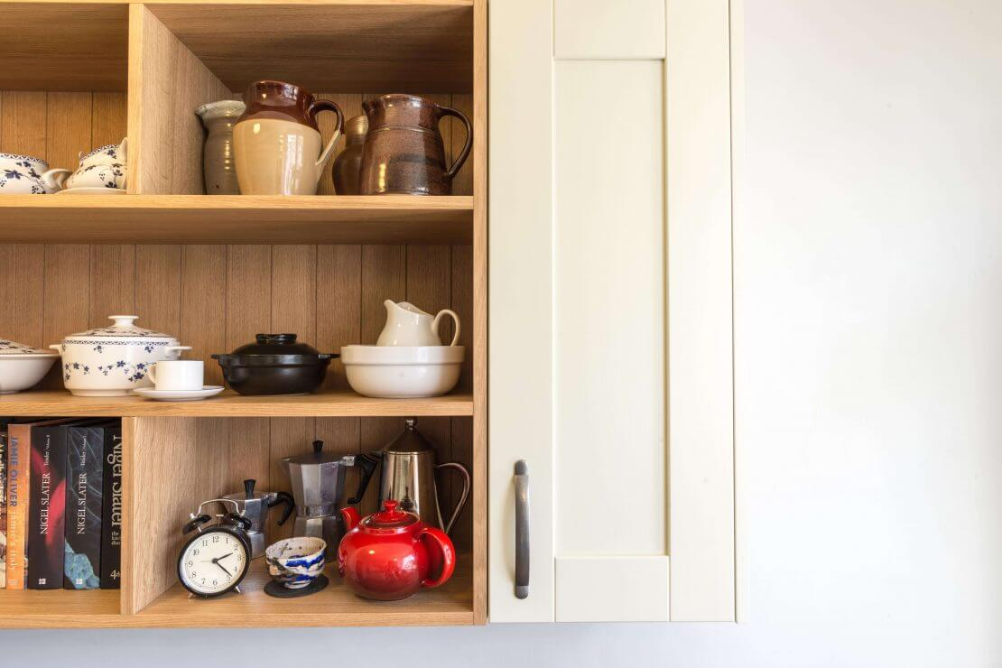 open shelving in shaker kitchen