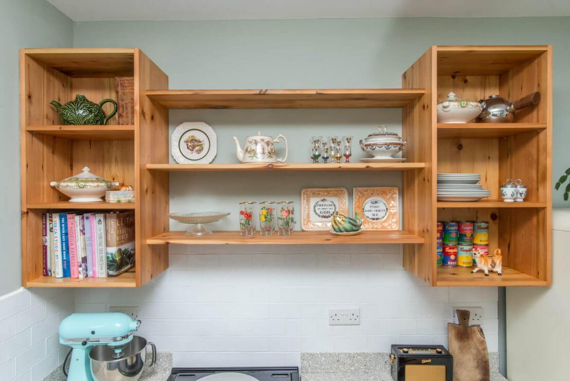 open shelving in new kitchen from pine timber