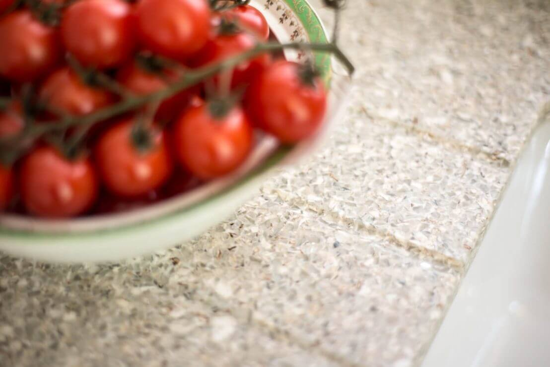 Recycled-glass worktop with drainer grooves Sheffield Sustainable Kitchens