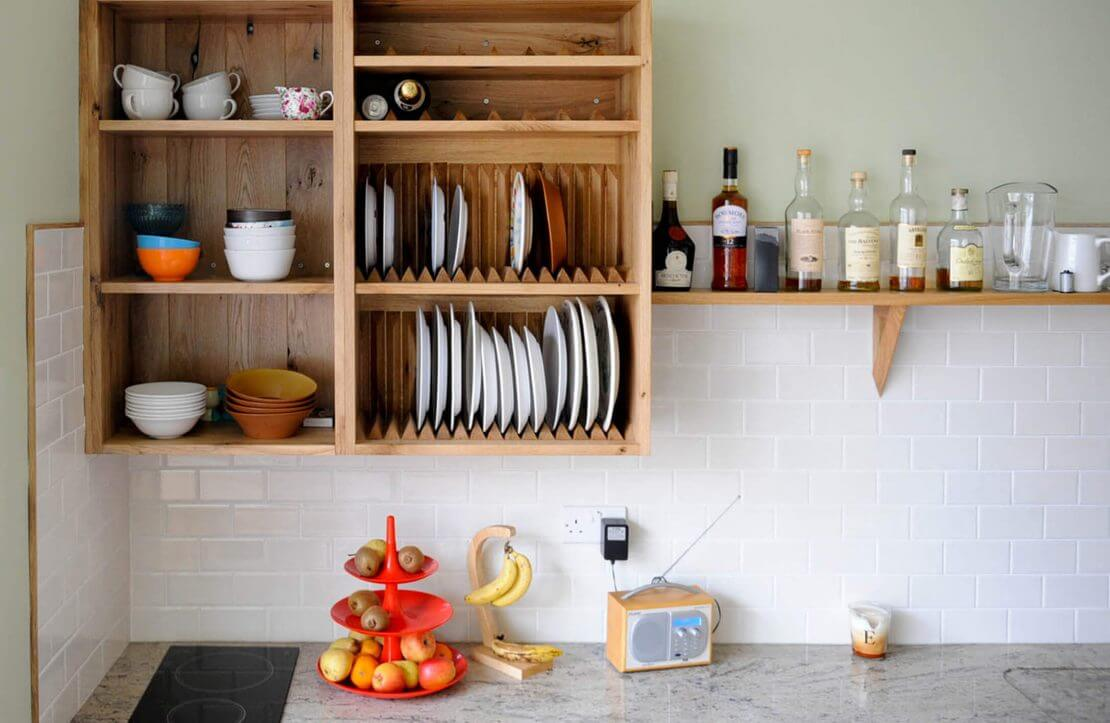 bespoke plate rack and metro tiles in new kitchen