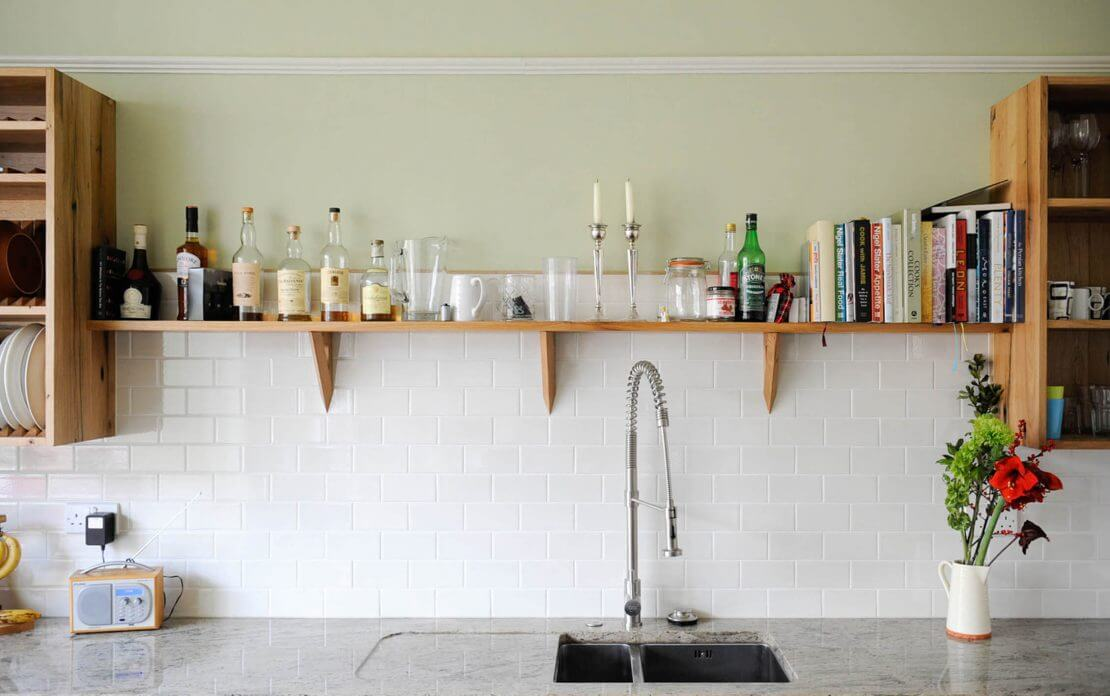 open shelving storage in new kitchen
