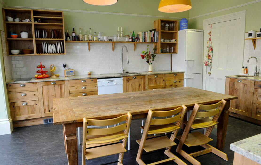 new kitchen with reclaimed oak