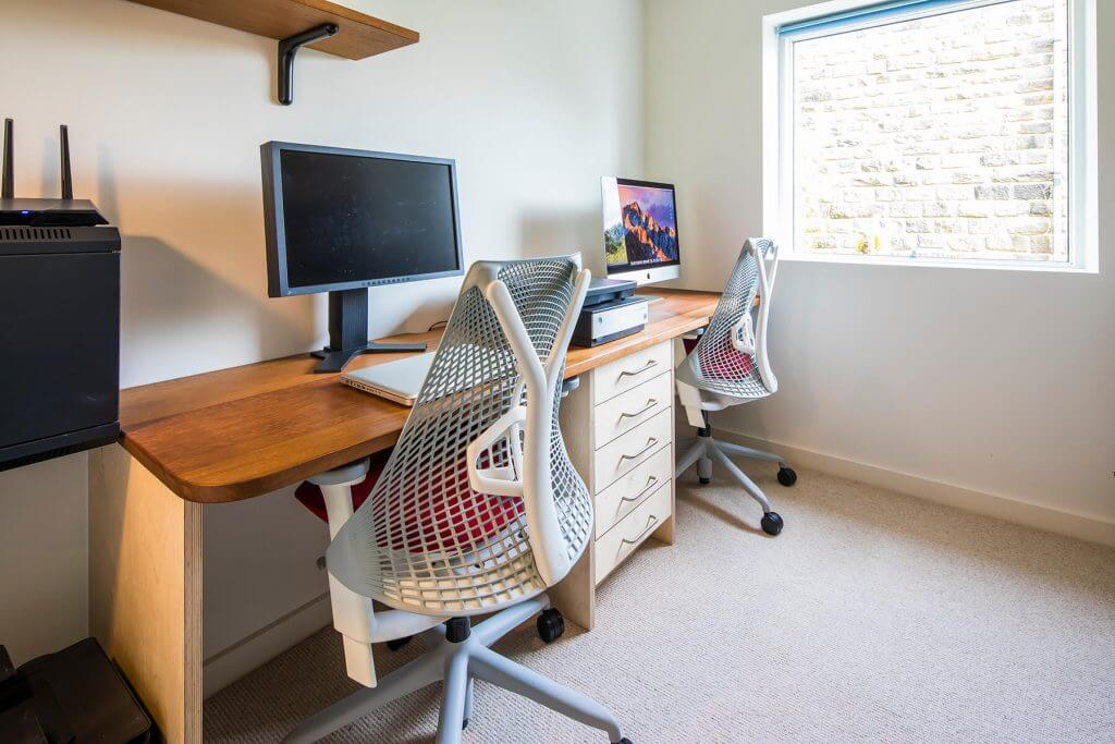 handmade home office with desk made from reclaimed timber