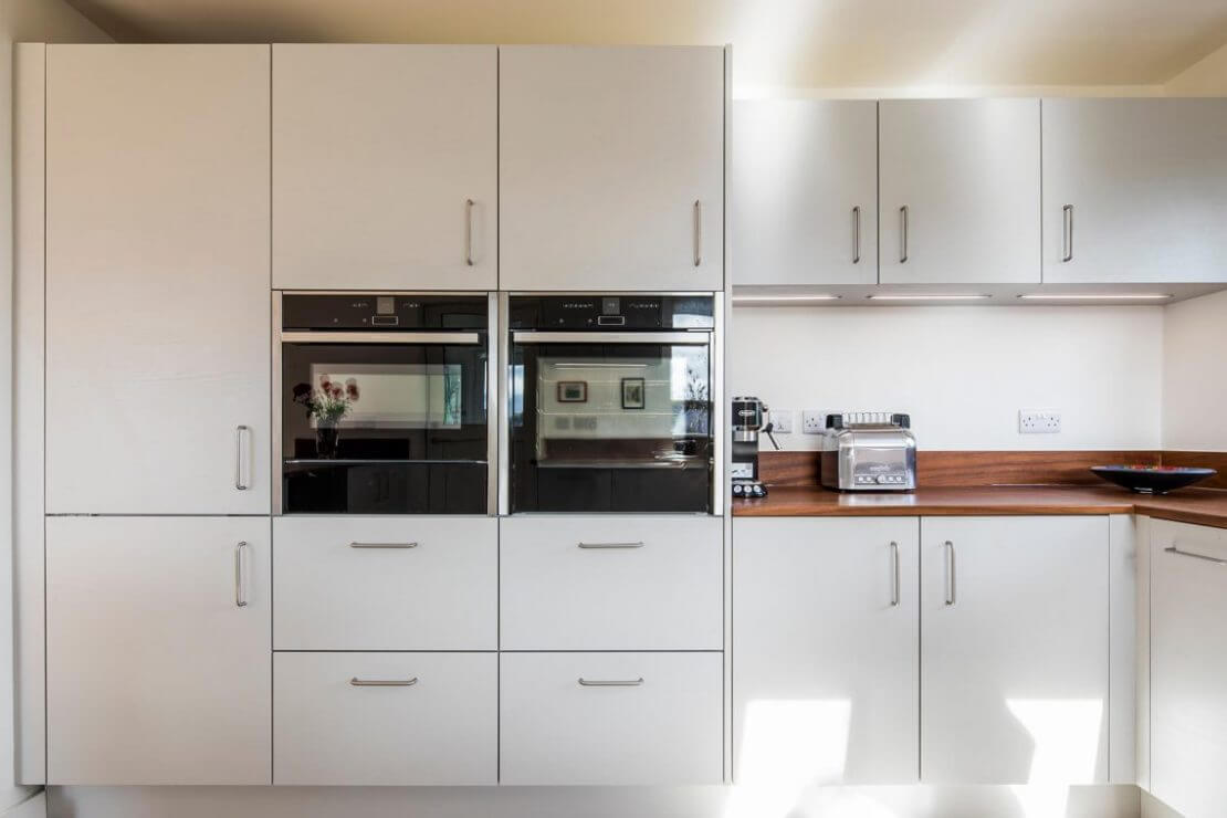 new kitchen with white slab doors in Sheffield Sustainable Kitchen