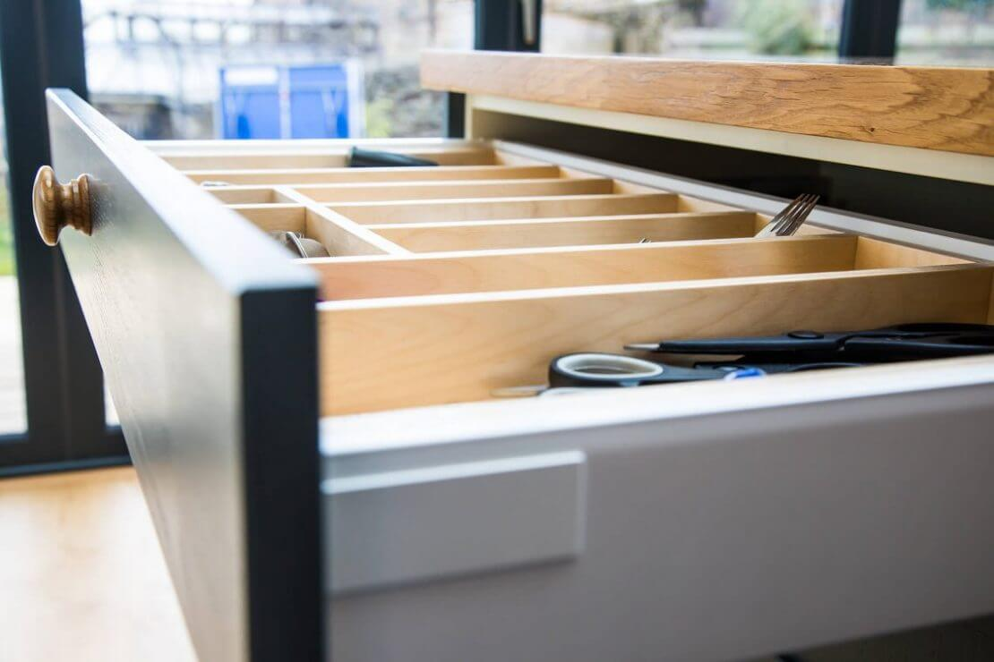 Sheffield Sustainable Kitchens cutlery drawer side