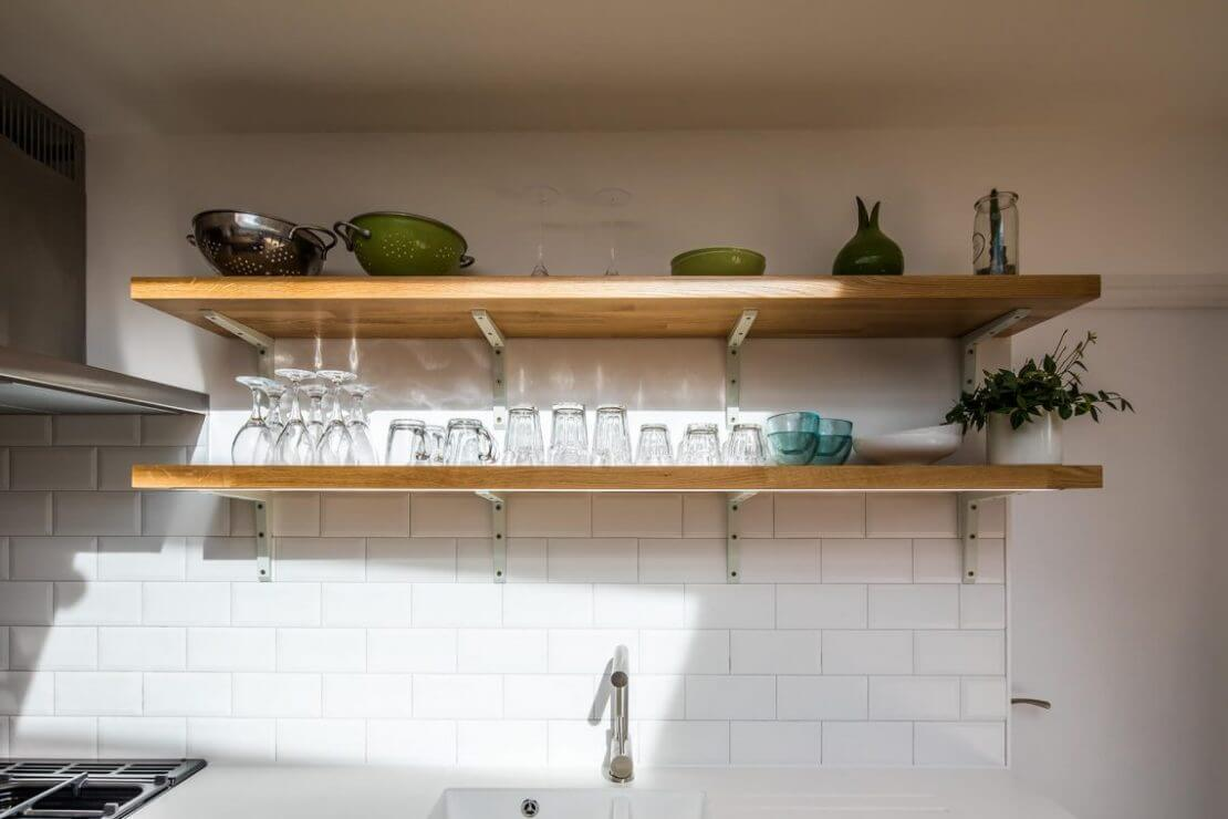 Sheffield Sustainable Kitchens contemporary oak galley kitchen with oak open shelves