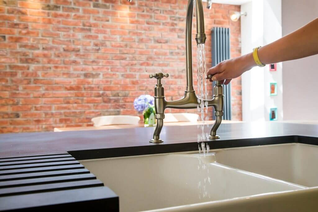 perrin and rowe tap with double belfast sink in new kitchen