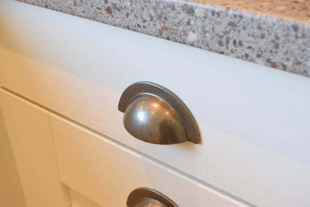 pewter cup pull handles in new kitchen