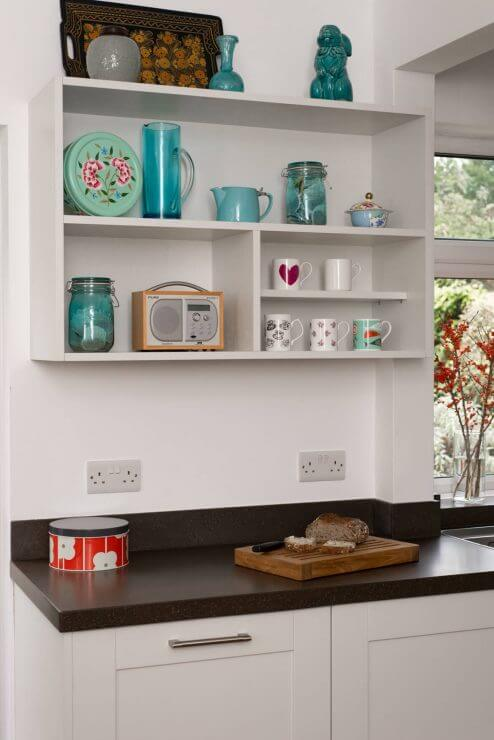 open shelving in L-shaped kitchen