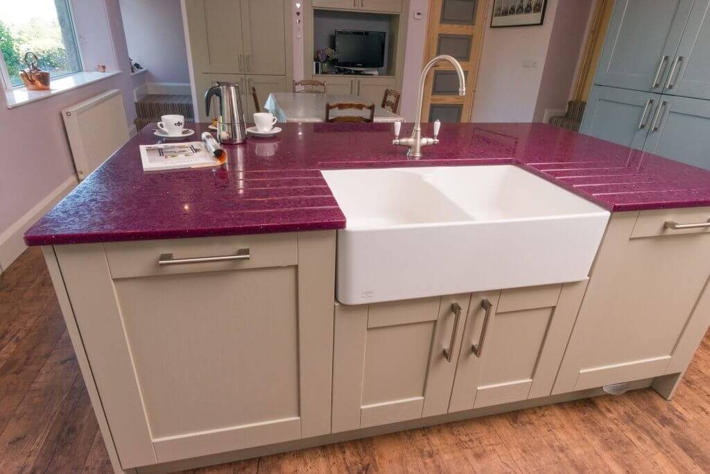 new kitchen with kitchen island and double belfast sink