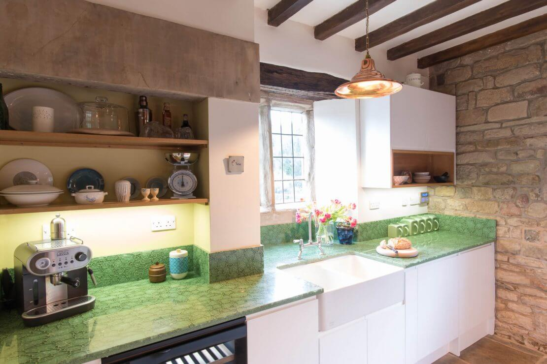 Sheffield Sustainable Kitchens manor house kitchen with recycled glass worktop