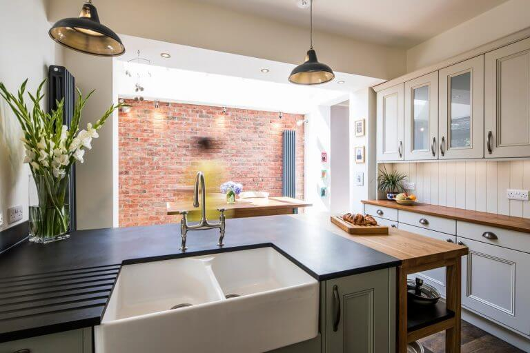 kitchen with recycled paper worktop with belfast sink