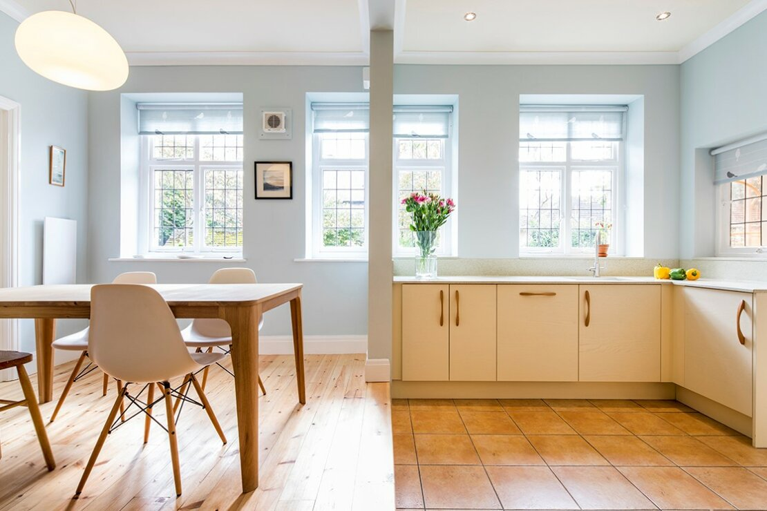 cream kitchen with natural light