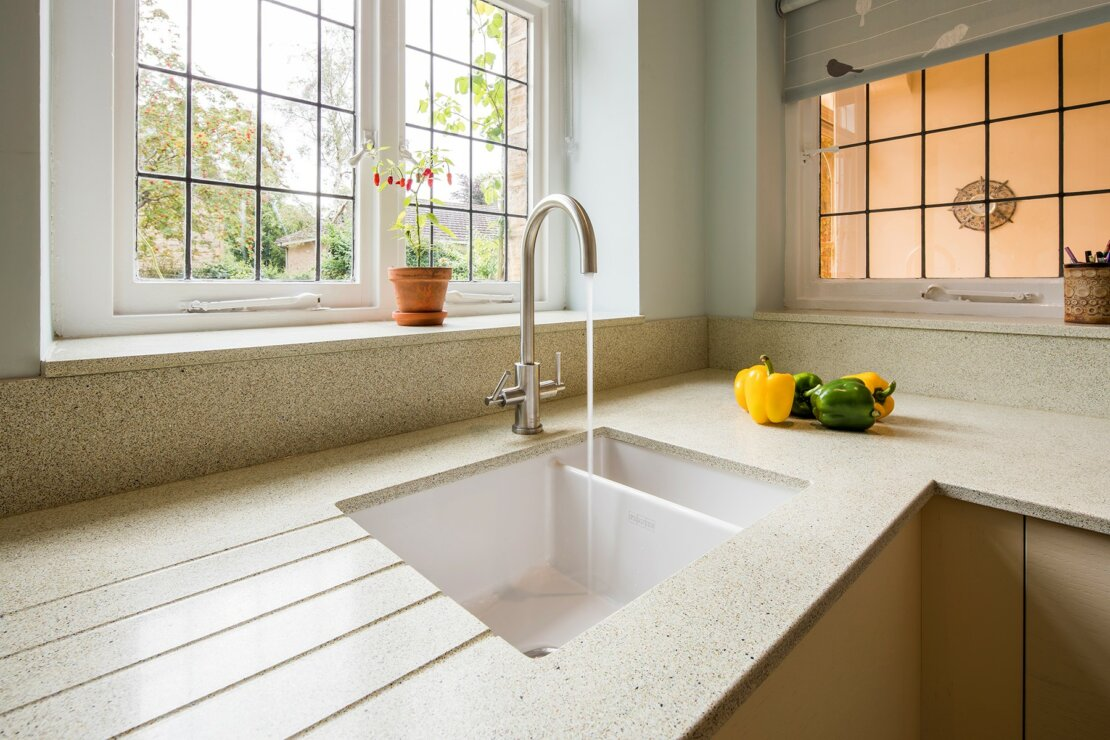 Franke undermount sink in recycled glass worktop