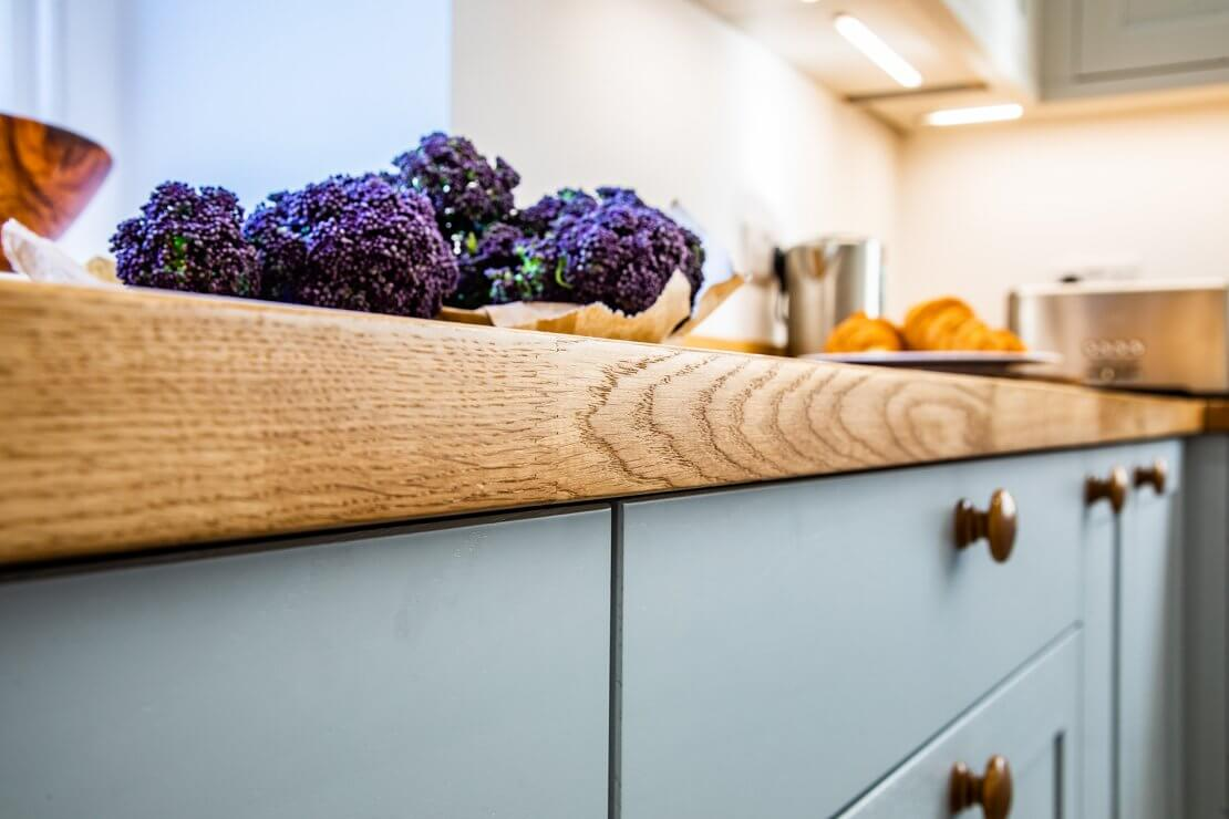 oak worktop in new u-shaped kitchen