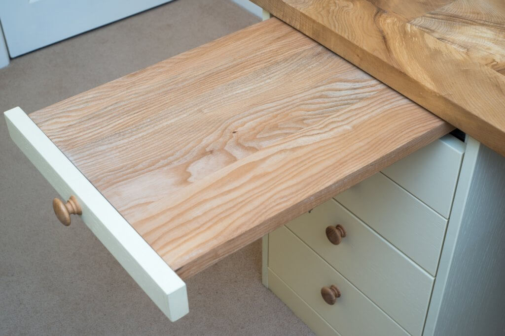 handmade desk pullout from above