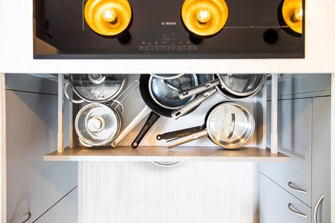open pan drawer from above in Sheffield Sustainable Kitchen
