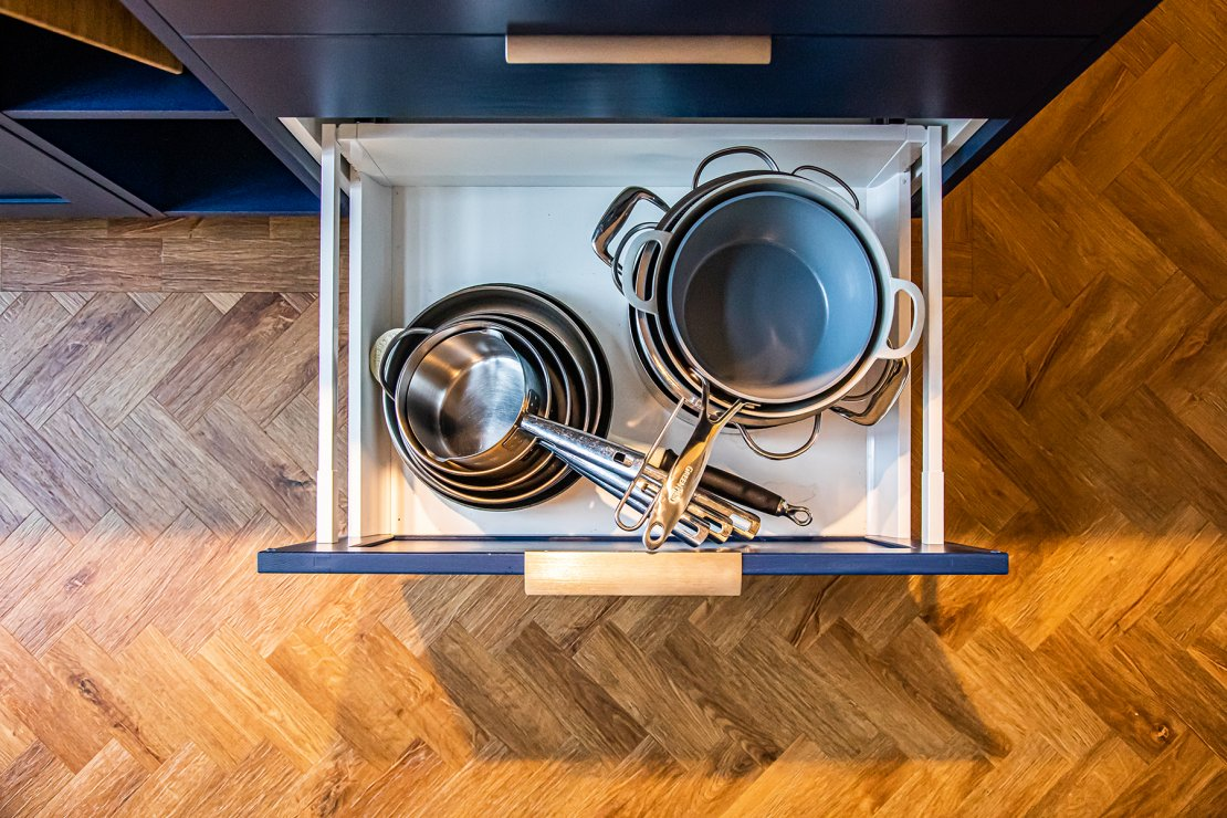 Manchester sustainable kitchen pan drawer with blue shaker doors