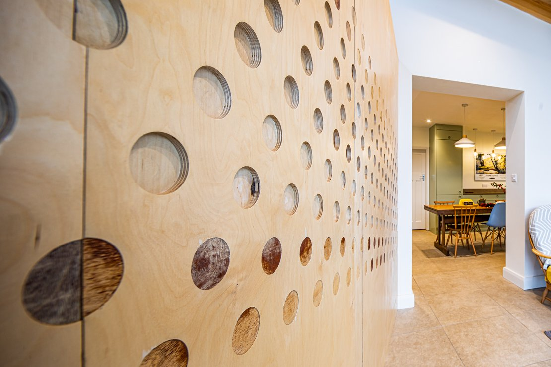 cut-out circles in birch ply