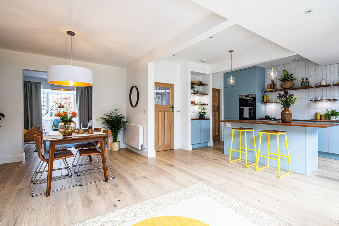 Kitchen diner open plan for ugly house to lovely house