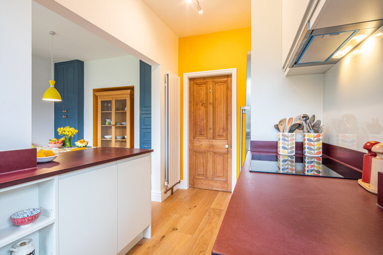 compact kitchen with colour