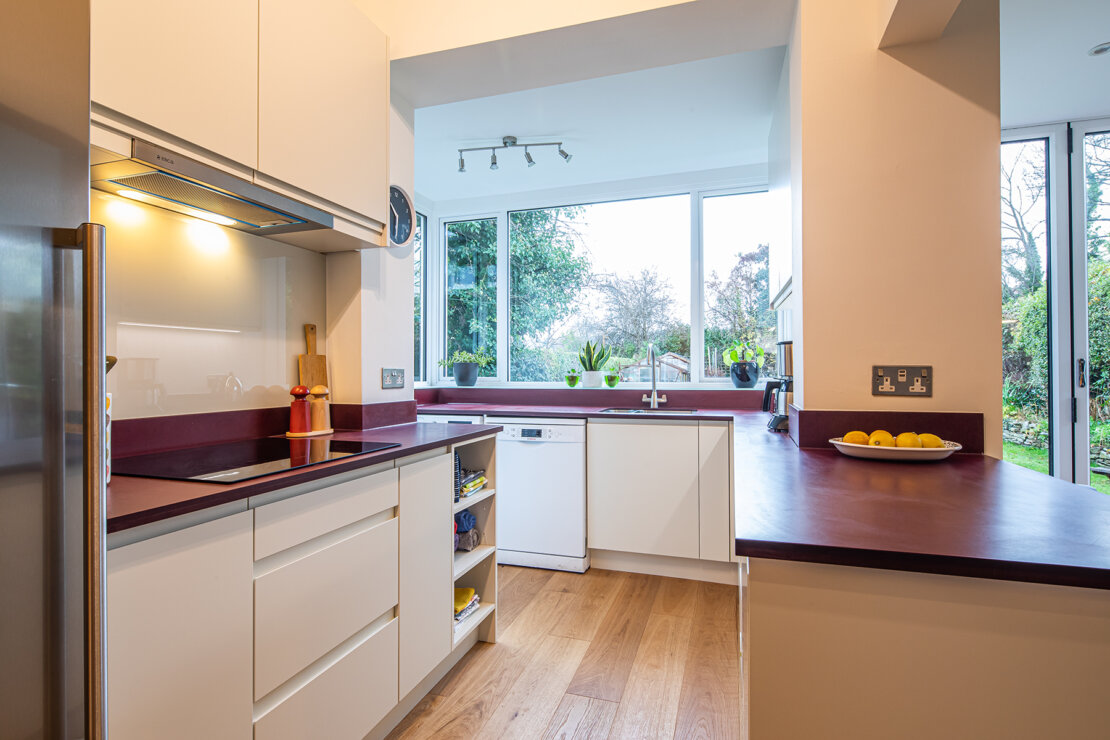 compact kitchen with white slab doors
