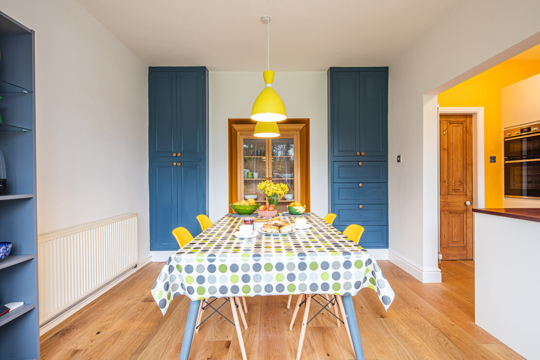 dining area with larder cupboards