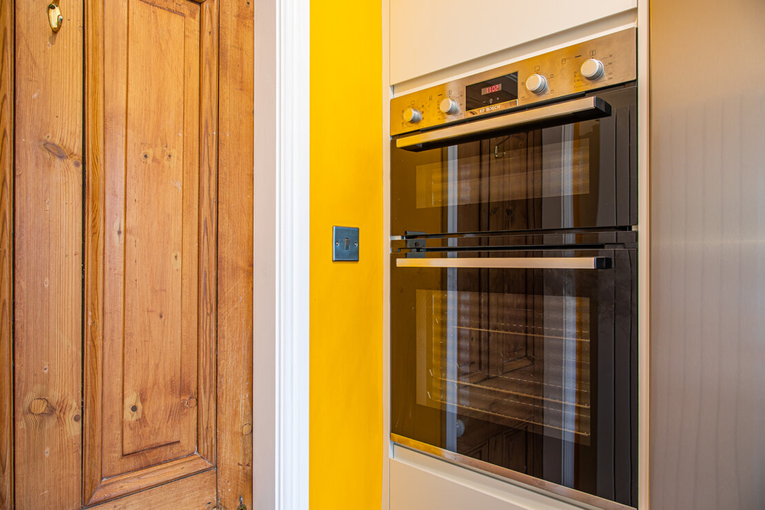 double oven in compact kitchen