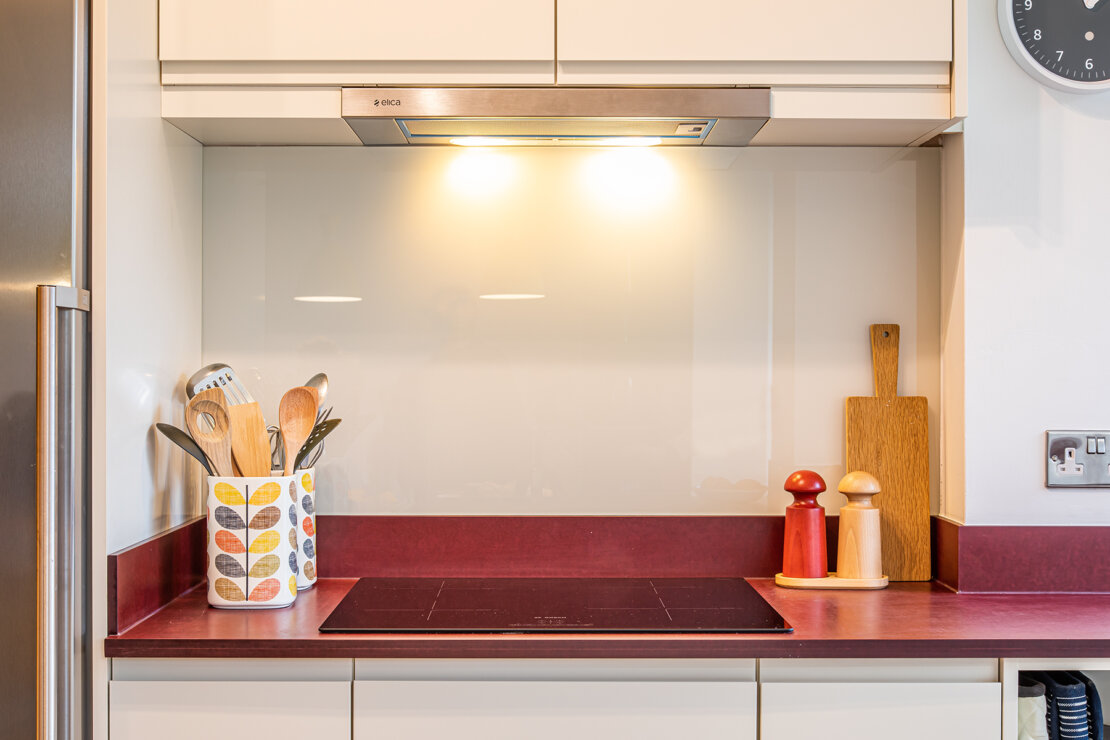 induction hob in compact kitchen