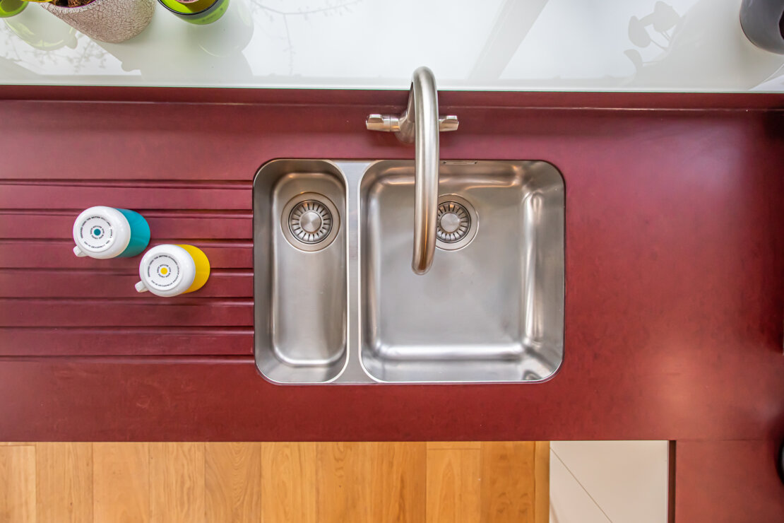 kitchen sink and recycled paper worktop
