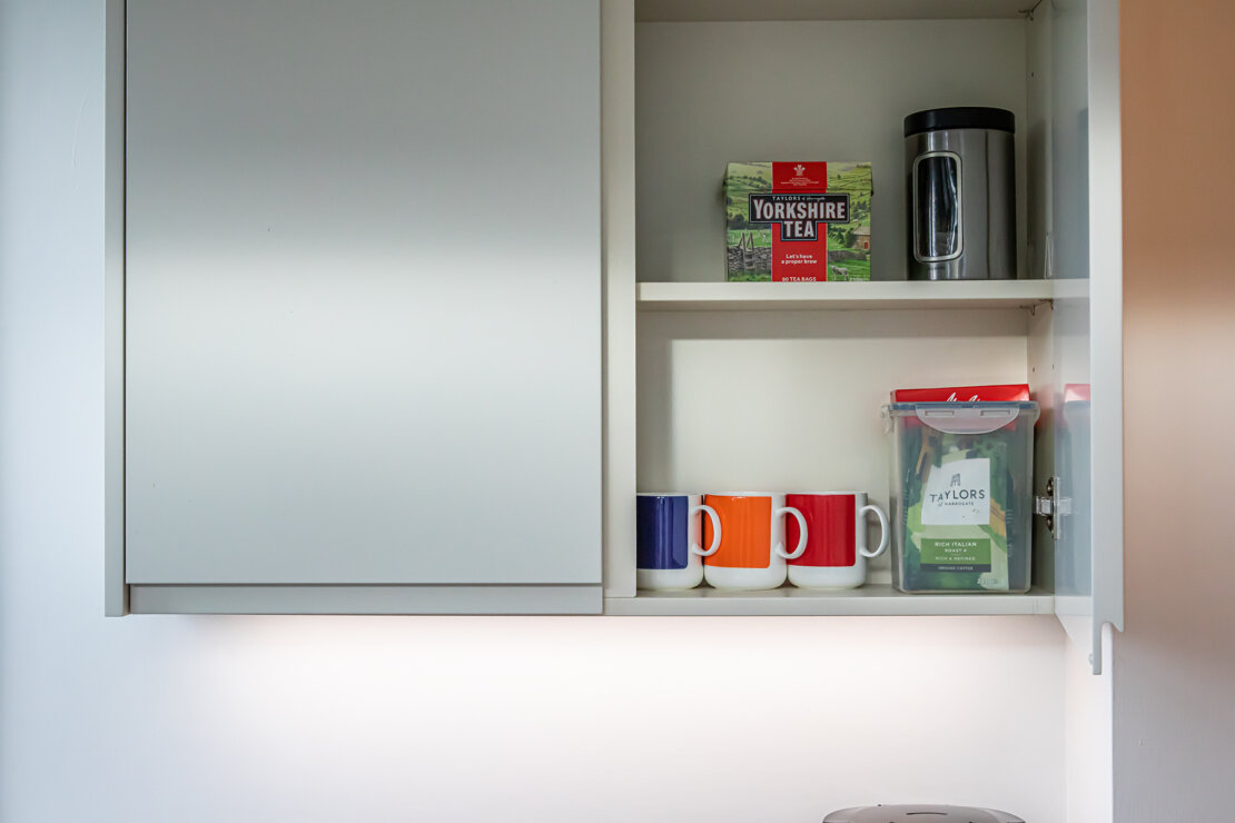 shallow cupboard with LED lights